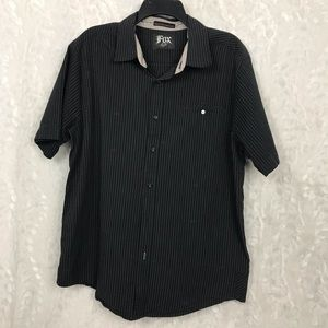Fox black pin stripe s/s shirt fox scattered XL